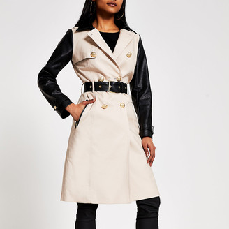River Island Petite beige faux leather blocked trench coat