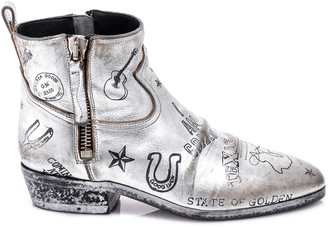 Golden Goose Graphic Printed Western Boots