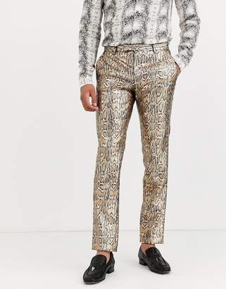 Twisted Tailor super skinny pants in metallic leopard print-Gold