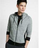 Express speckled contrast zip front hoodie