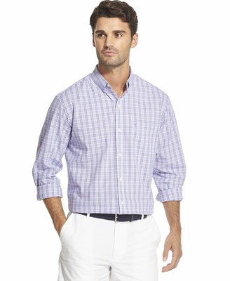 Izod mens Button Down Long Sleeve Stretch Performance Plaid dress shirts