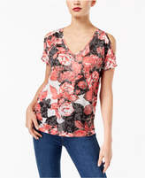 INC International Concepts Embellished Printed Cold-Shoulder T-Shirt, Created for Macy's