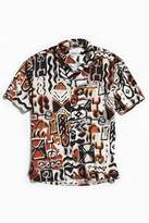 Urban Outfitters Blocked Pattern Rayon Short Sleeve Button-Down Shirt