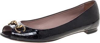 Gucci Black Patent Leather Horsebit Open Toe Ballet Flats Size 38.5