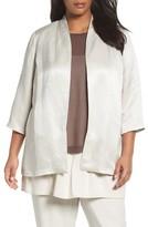 Eileen Fisher Plus Size Women's Organic Linen & Silk Blend Satin Jacket