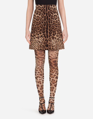 Dolce & Gabbana Short Skirt In Leopard-Print Double Crepe