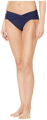 Robin Piccone Ava Twist Bikini Bottom (Navy) Women's Swimwear