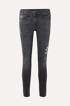 R 13 Alison Distressed Mid-rise Skinny Jeans - Charcoal