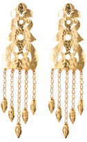 Josie Natori Hammered Gold Long Earrings