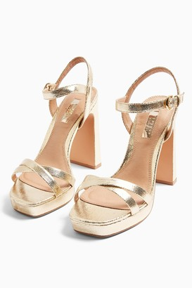 Topshop WIDE FIT SIENNA Gold Platform Heels