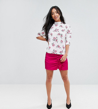 Fashion Union Petite Mini Skirt With Ruffle Gathers In Luxe Fabric-Pink