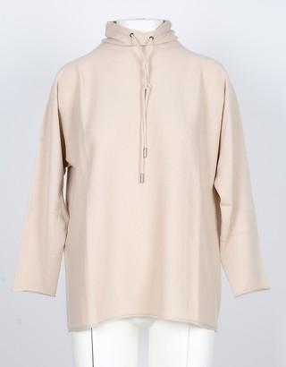 Lamberto Losani Beige Pure Cashmere Women's Sweater w/Drawstring