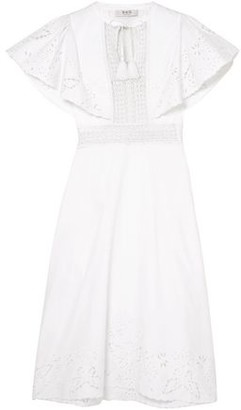 Sea Lace-trimmed Broderie Anglaise Cotton Midi Dress