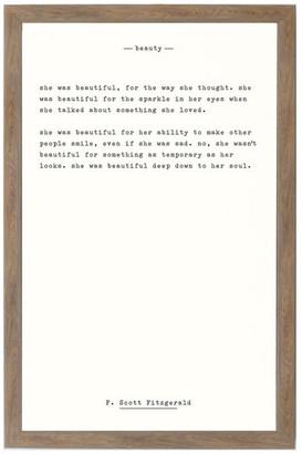 "Petal Lane ""Beauty - F. Scott Fitzgerald"" Magnet Board With Brown Frame, 10""x7"""