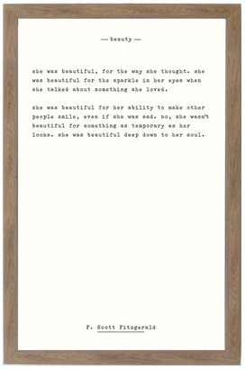 "Petal Lane ""Beauty - F. Scott Fitzgerald"" Magnet Board With Brown Frame, 24""x16"""