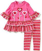 Bonnie Jean Little Girls 2T-6X Valentines Heart Dress & Patterned Leggings Set