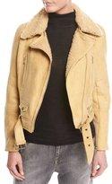 Brunello Cucinelli Belted Shearling Fur Moto Jacket, Marigold