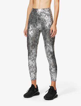 Heroine Sport Metallic lace-print high-rise stretch-jersey leggings