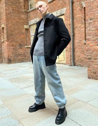 ASOS DESIGN wool mix overcoat with corduroy panel in black