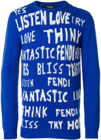 Fendi slogan embroidered sweater