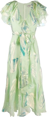 Temperley London Sequin Leave Print Dress