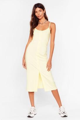 Nasty Gal Womens Come On Button-Down Ribbed Midi Dress - Lemon