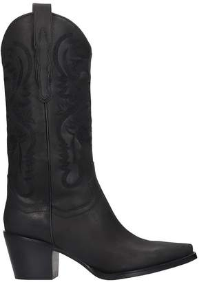 Jeffrey Campbell Dagget Texan Boots In Black Leather