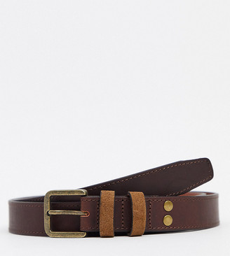 ASOS DESIGN plus leather slim belt in brown with vintage gold buckle