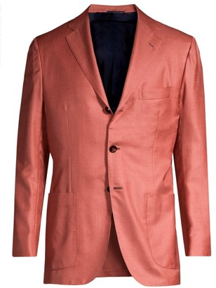Kiton Solid Silk & Wool Single-Breasted Blazer
