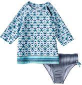 Carter's Girls 4-6x 3/4-Length Sleeve Printed Rashguard & Bottoms Swimsuit Set