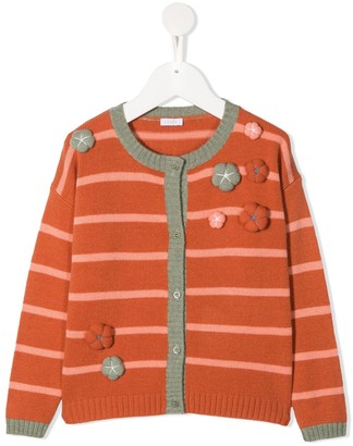 Il Gufo Applique Flower Striped Cardigan