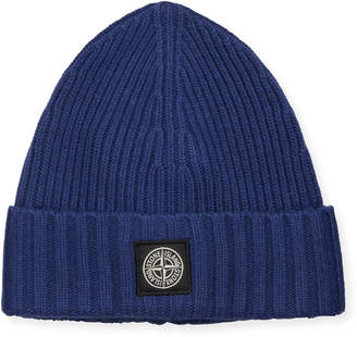 Stone Island Men's Sweater Knit Beanie Hat with Logo Patch
