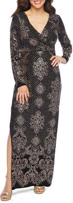 BLU SAG HairE Blu Sage Long Sleeve Glitter Knit Evening Gown