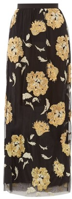 Osman Eva Floral-embroidered Tulle Maxi Skirt - Womens - Black Gold