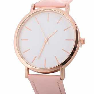 LMDGO Woman Fashion Leather Band Analog Quartz Round Wrist Watch Watches(Pink)
