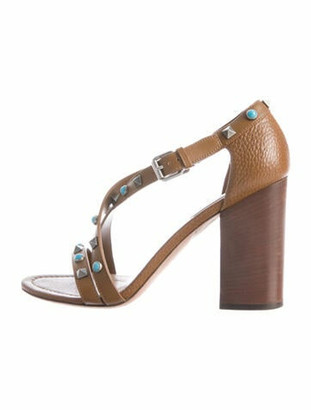 Valentino Studded Leather Sandals Brown