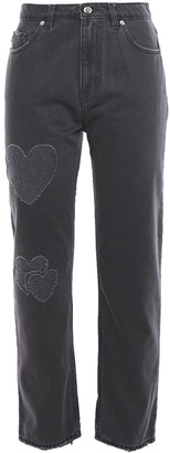 Love Moschino Distressed High-rise Straight-leg Jeans