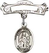 Bonyak Jewelry Saint Medal Collection Sterling Silver Baby Badge with St. Walter of Pontnoise Charm and Arched Polished Badge Pin 7/8 X 7/8 inches