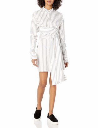 Baja East Women's Wide Stripe Poplin Tshirt Dress with Tie