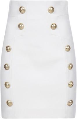 Balmain Button Detail High Waist Skirt