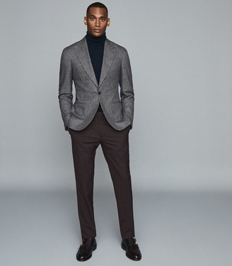 Reiss Kingston - Cotton Linen Blend Slim Fit Blazer in Blue
