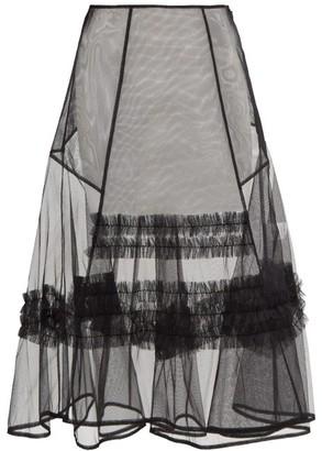 Molly Goddard Alva Ruffle-trim Sheer Tulle Skirt - Womens - Black