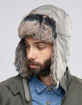 Asos Trapper Hat In Khaki Nylon