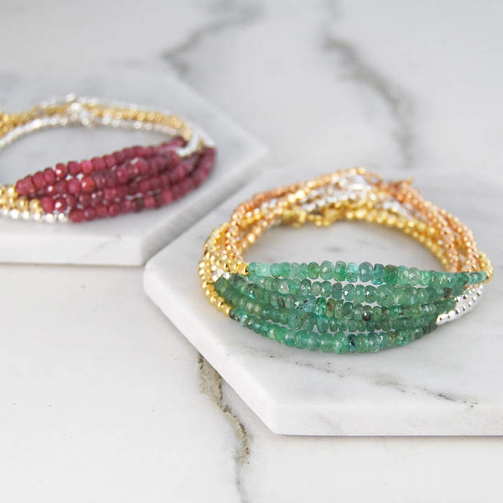 2e06c7bc23739 Embers Emerald May Birthstone Silver/Gold Friendship Bracelets