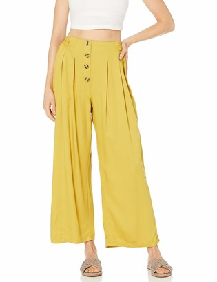 Angie Women's Twill Pants with Faux Button Front