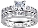 Sterling Silver 6.66ctw CZ 2-piece Engraved Wedding Ring Set