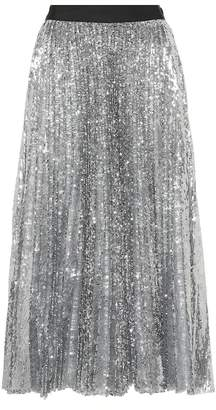 MSGM Pleated sequinned midi skirt