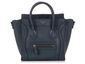 Celine Nano Luggage Blue Leather Handbags