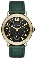 Marc Jacobs Riley Goldtone Stainless Steel and Leather Strap Watch, CLSC36IPGGRNSTRP