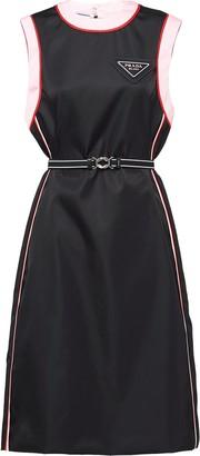 Prada Logo-Plaque Sleeveless Mini Dress